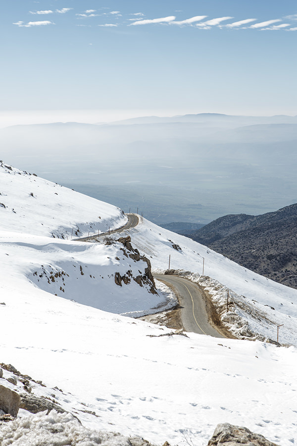 Hermon mountain, Golan, snow, winter, Israel, travel, the highest peak, winter, road