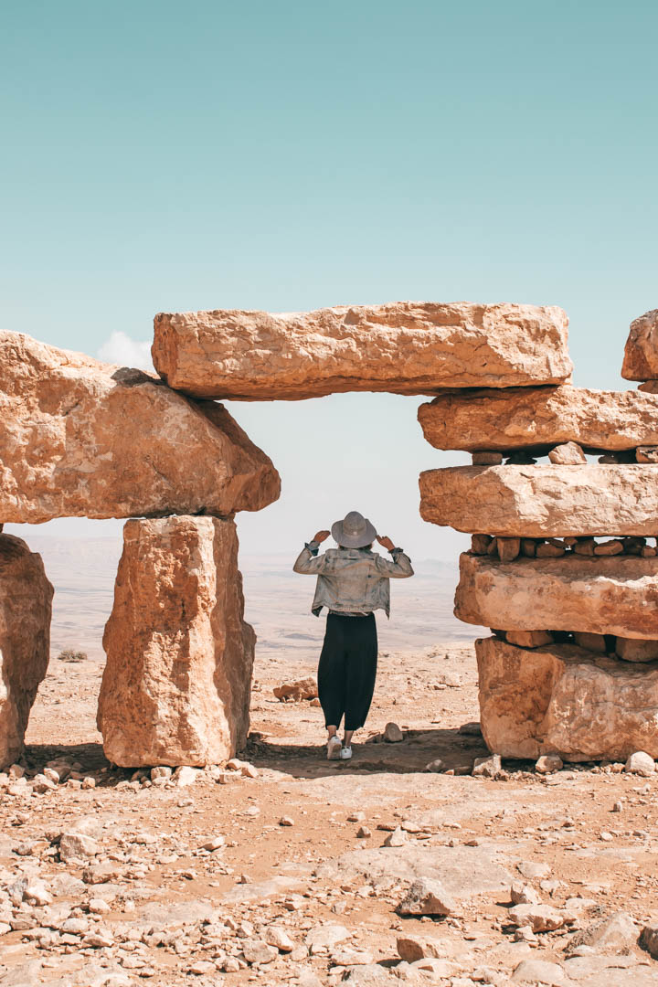 desert, negev, ramon crater, mitzpe ramon, desert landscape, desert view, desert, woman in the desert, stones sculpture