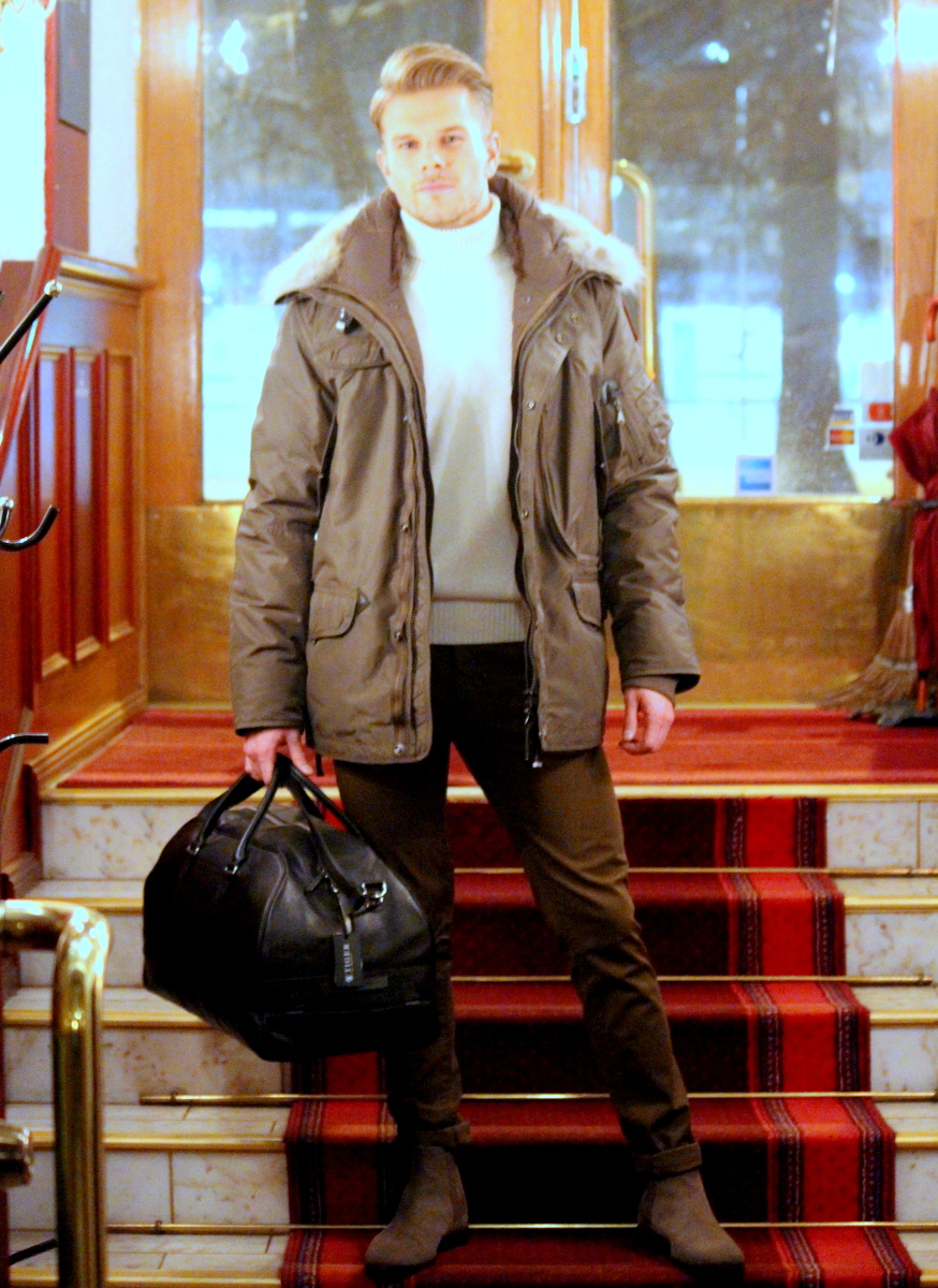 Parajumpers coat, Oscar Jacobson knit, Tiger of Sweden weekend bag & trousers