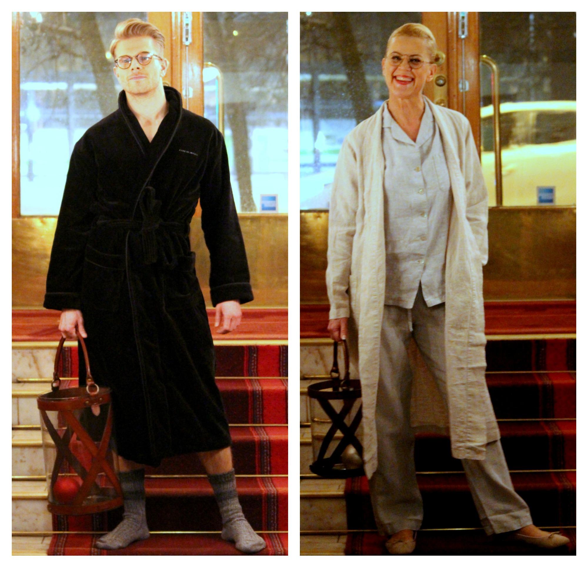 For Him Tiger of Sweden bathrobe and for Her Balmuir linen pyjamas & robe & lanterns, Flattered indoor ballerinas