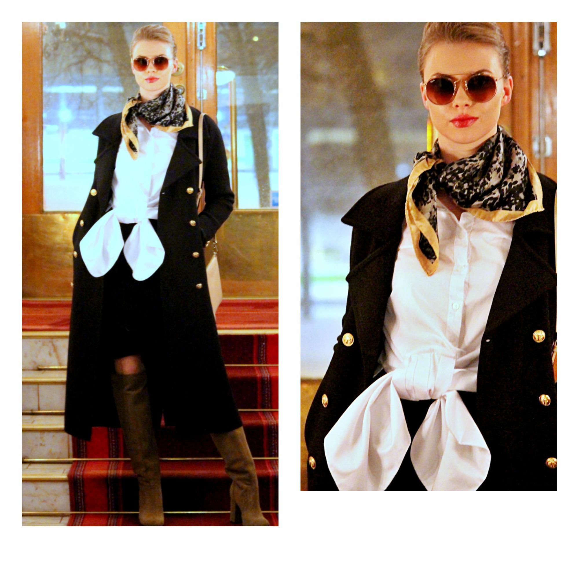 Busnel coat & skirt, Sleek Atelier shirt, Balmuir bag & scarf, afKlingberg booties