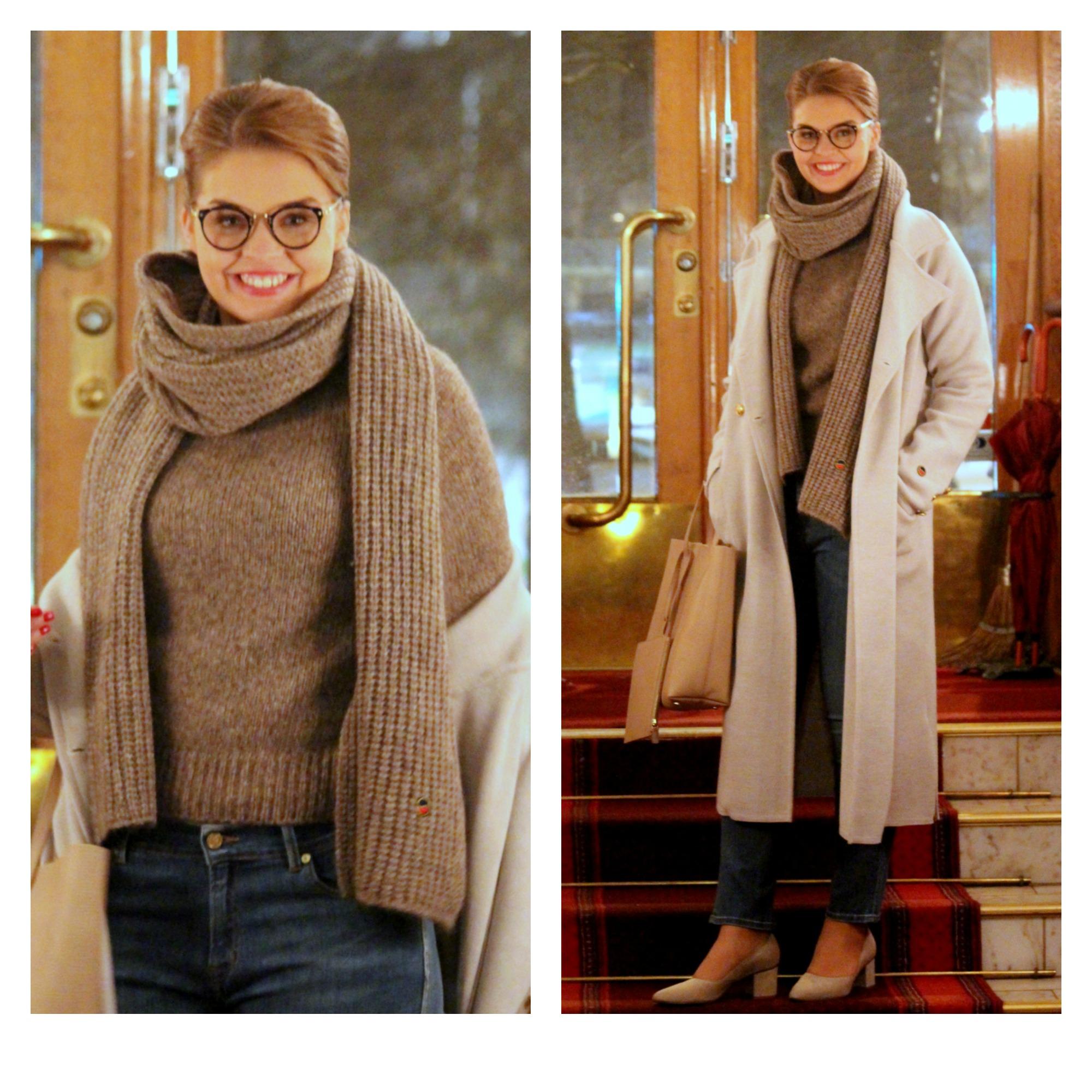 Busnel coat & knits & jeans, Balmuir bag, ATP Atelier shoes