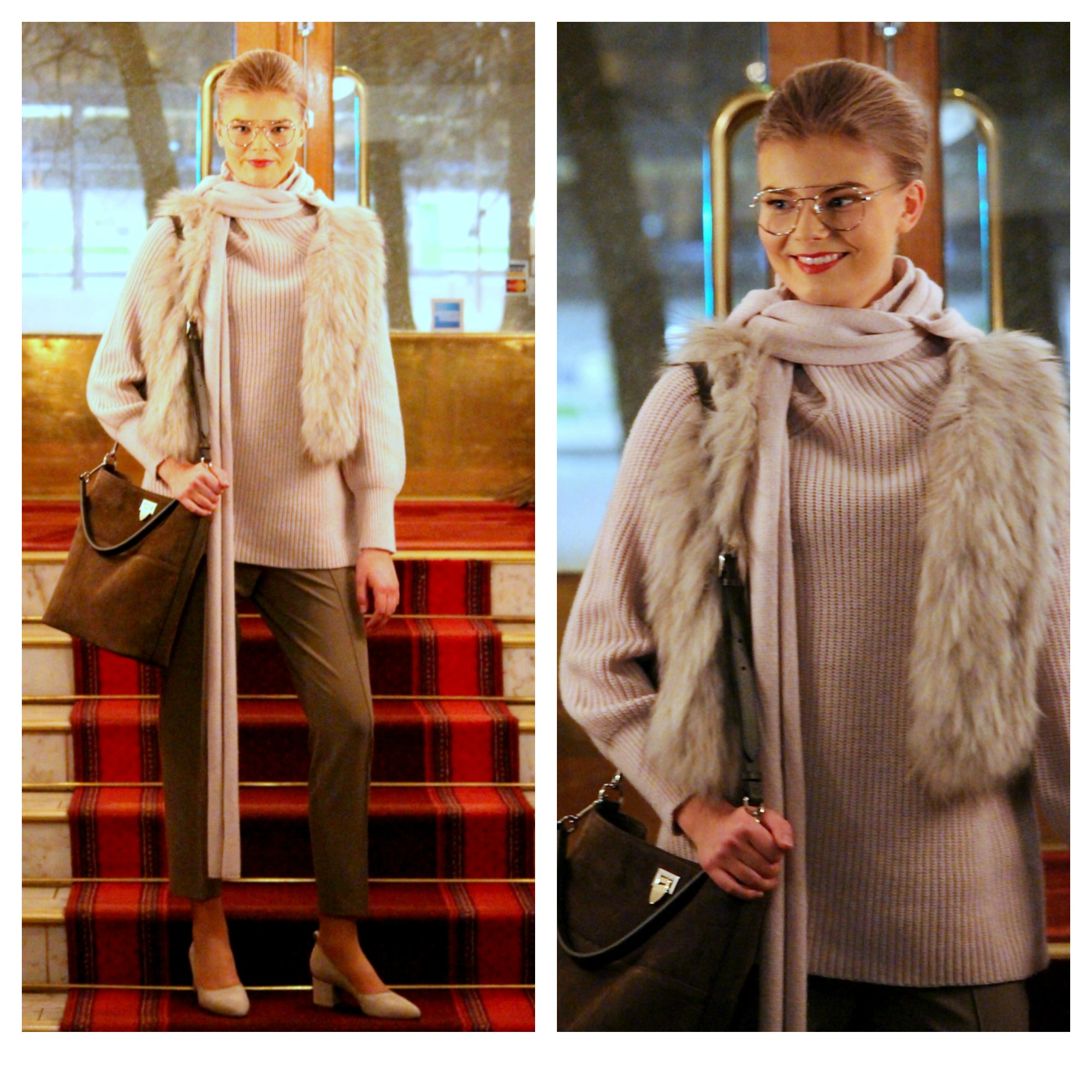 Filippa K knits & trousers, Natures Collection fur vest, Decadent bag, ATP Atelier shoes