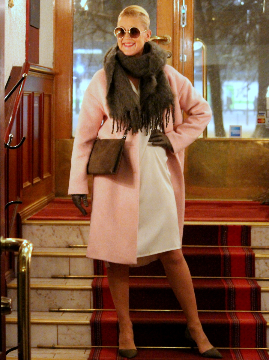 Filippa K coat & dress & gloves,Deckadent bag, Balmuir scarf, By Malene Birger shoes