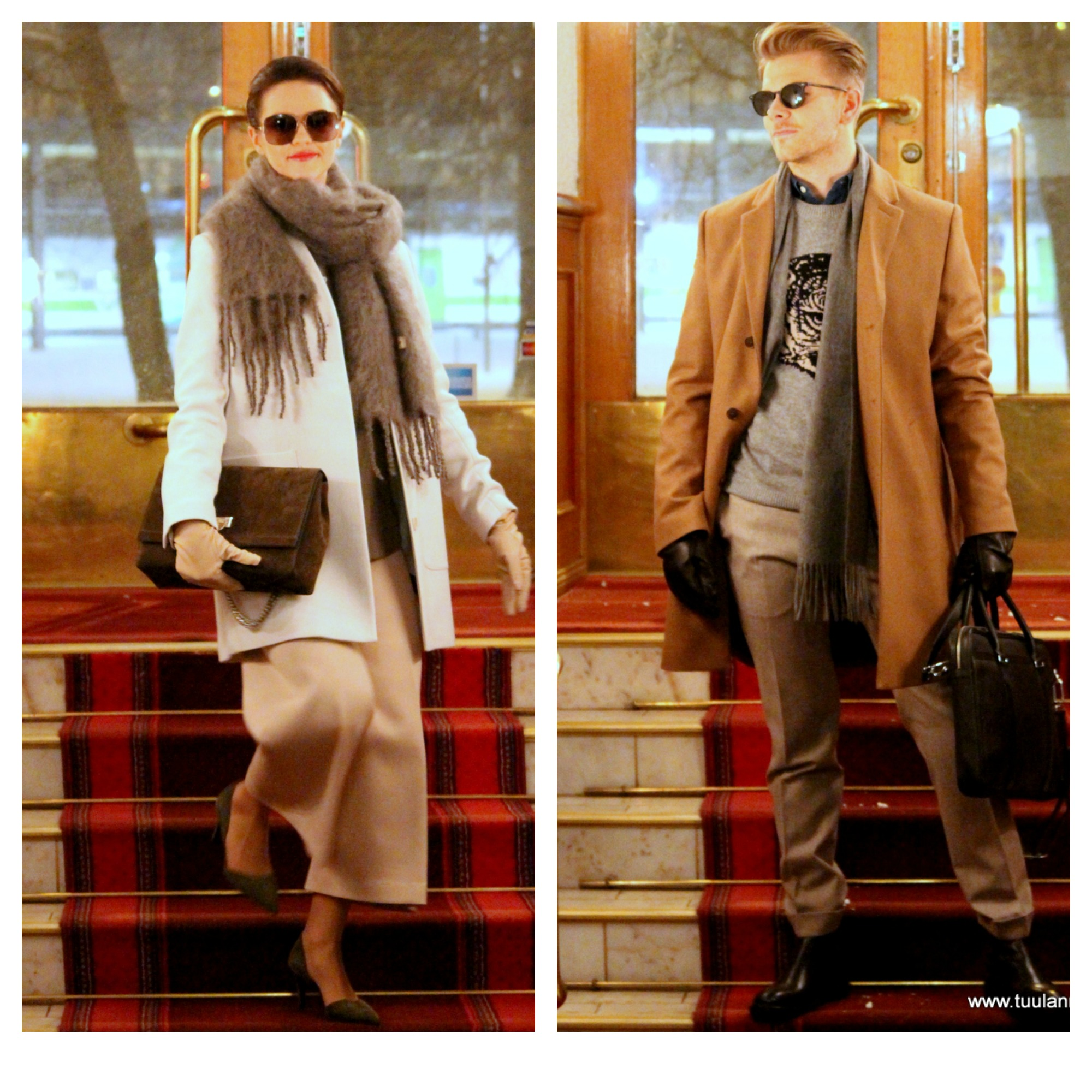 She in Filippa K coat & trousers & shirt & gloves, Decadent bag, Balmuir scarf, By Malene Birger shoes. He in Tiger of Sweden coat & knit & shirt & gloves & bag & shoes, Oscar Jacobson trousers, Balmuir scarf