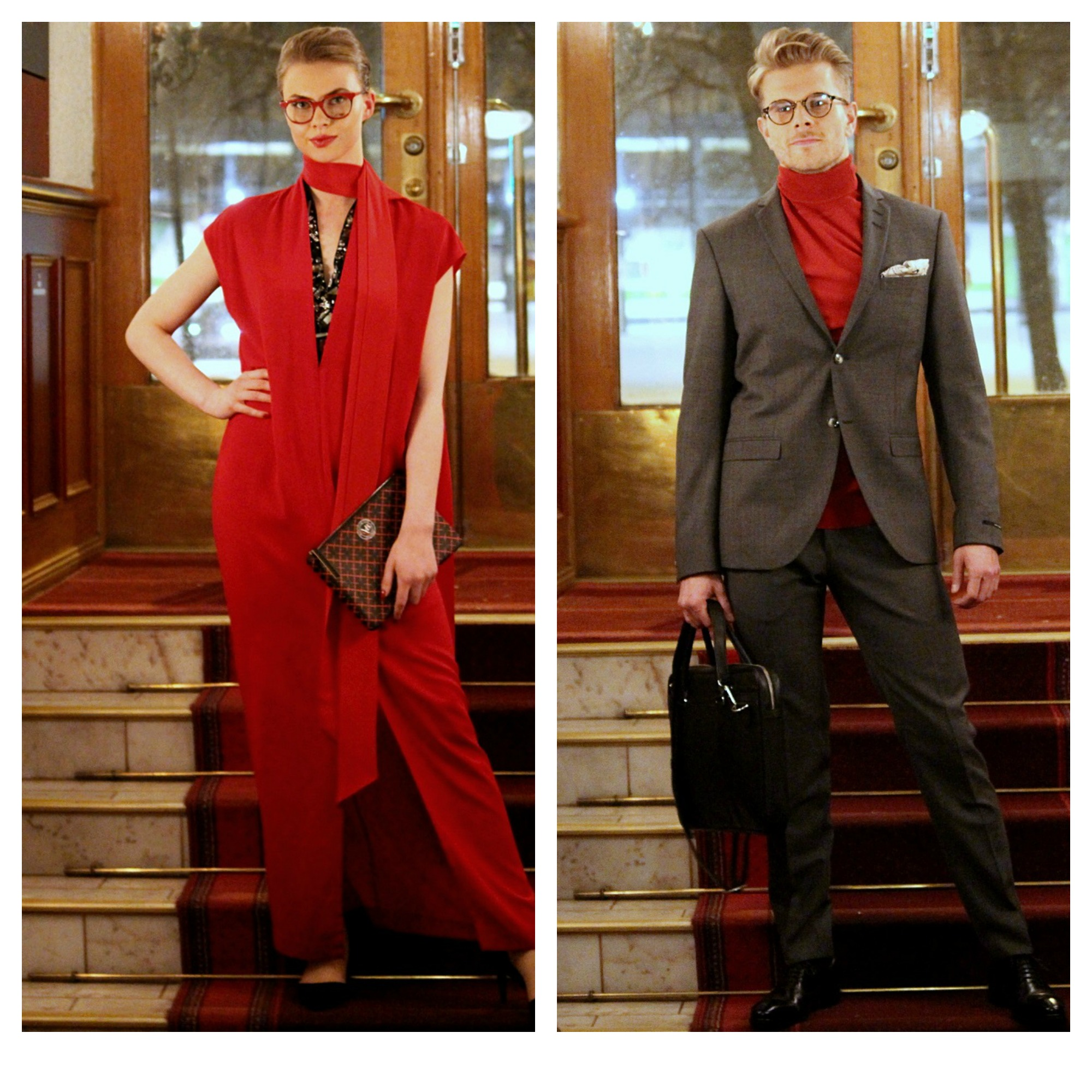 Lady in red; By Malene Birger dress & purse. He in Tiger of Sweden suit & knit & handkerchief & bag & shoes