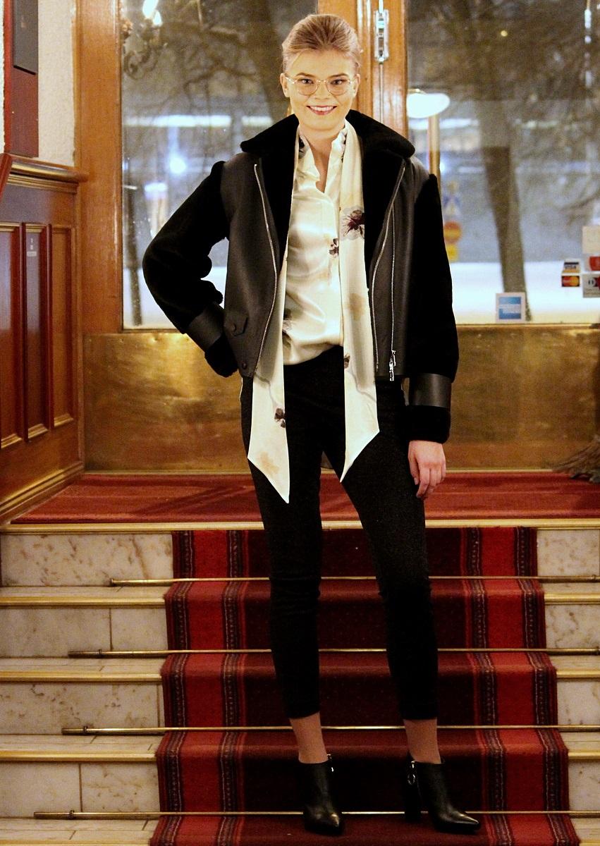 By Malene Birger lamb fur & shirt & trousers, afKlingberg shoes