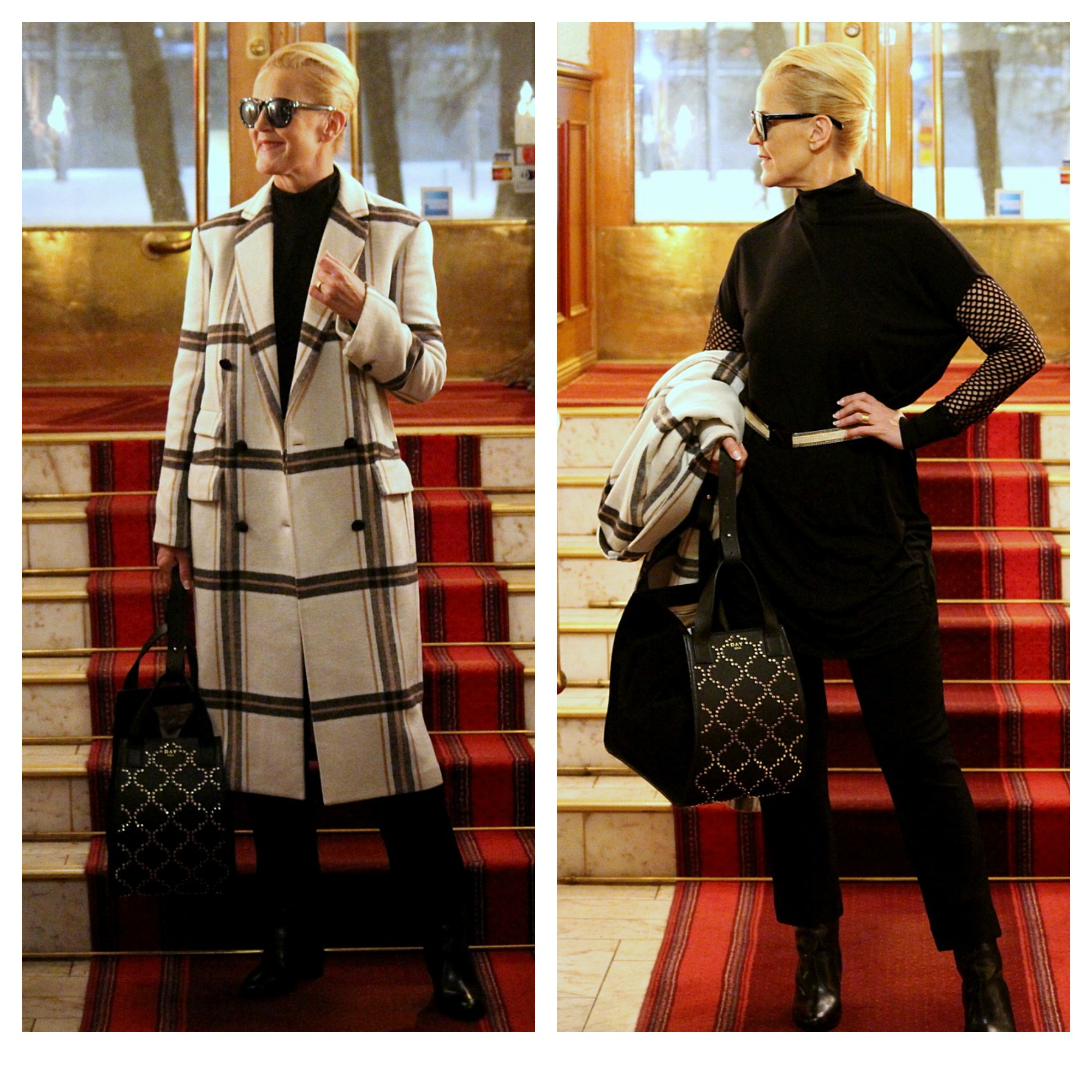 By Malene Birger coat & dress & trousers, Day Birger et Mikkelsen bag, ATP Atelier shoes
