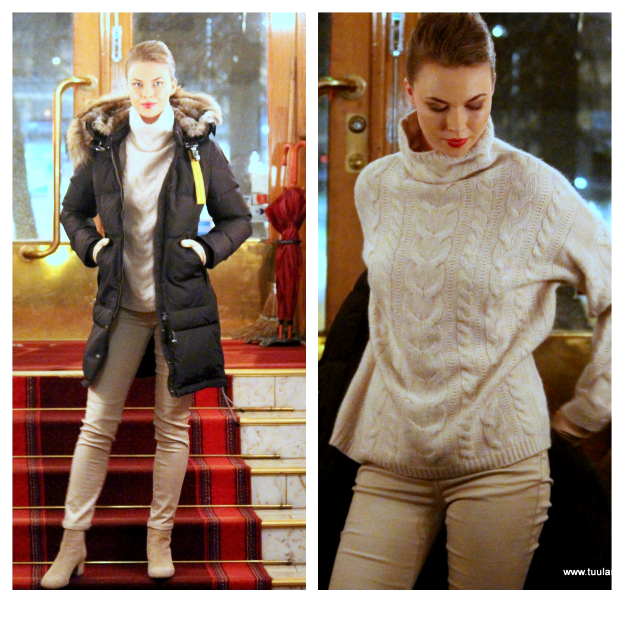 Parajumpers coat, Repeat Cashmere knit & trousers, ATP Atelier shoes