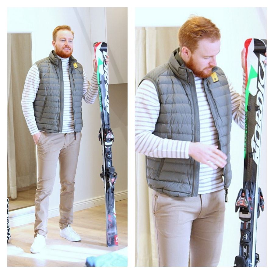 Parajumpers vest, Oscar Jacobson sweater, Tiger of Sweden chinos & sneakers