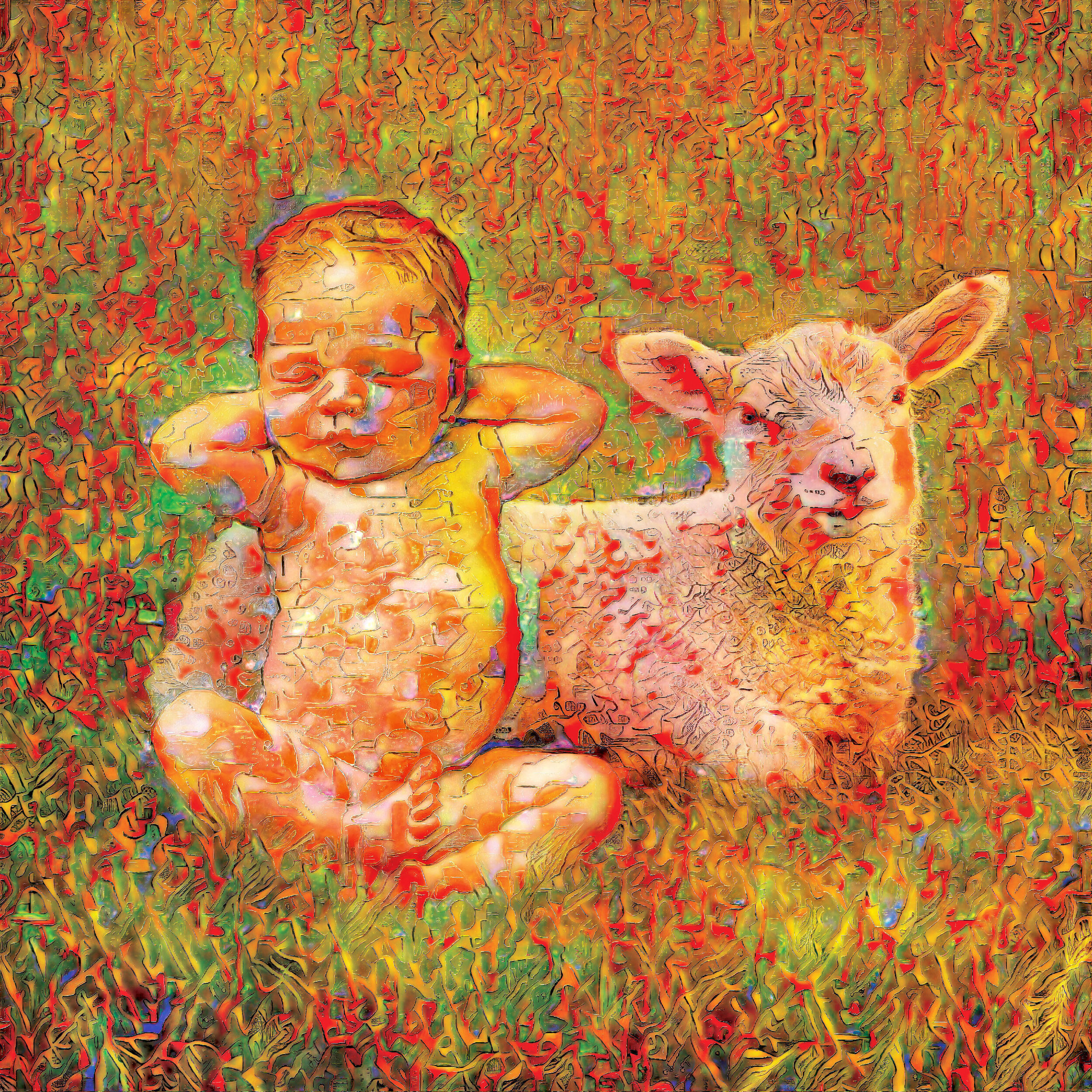 Kid and Lamb in a Field