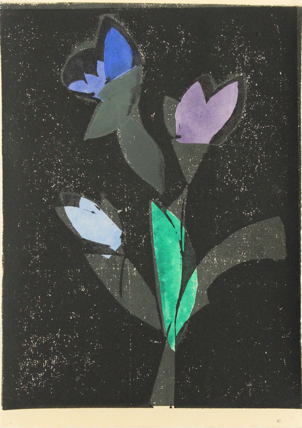 Flowers in Window I    2016. lino print, watercolour & collage, 22 x 15cm