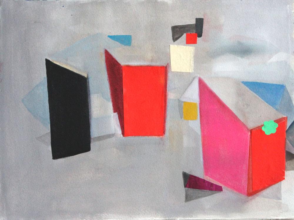 Red Boxes    2016, watercolour, gouache, acrylic & collage, 23 x 31cm