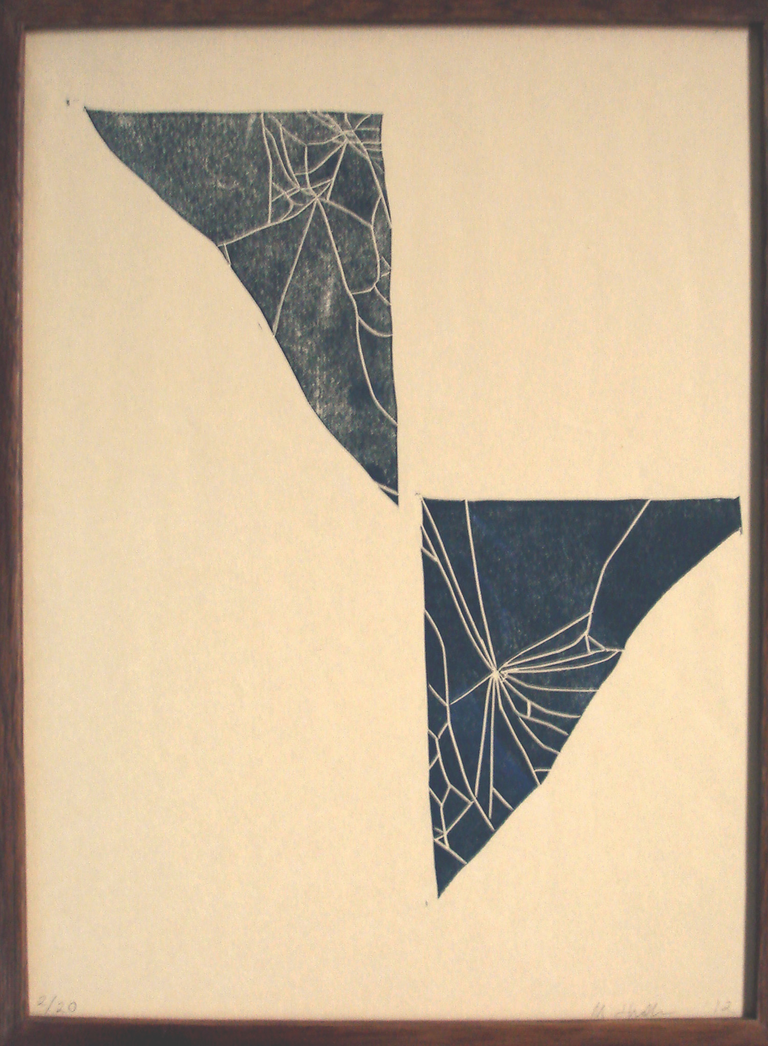 Webs    2012, lino print, 31 x 23cm