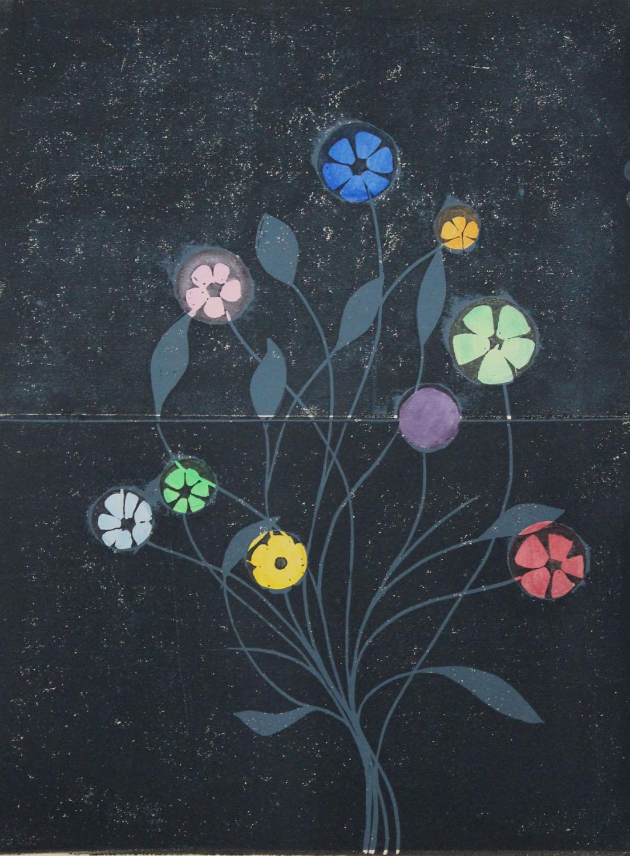 Metal Flowers I    2015, lino print and watercolour, 40 x 30cm