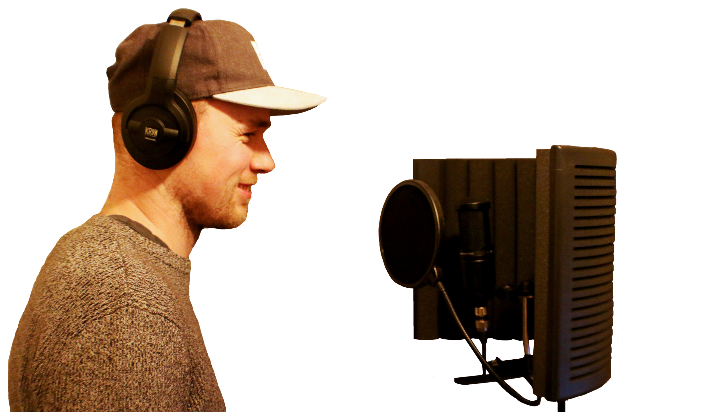 Joe recording his vocals in character as Ellis from Things That Go Bump