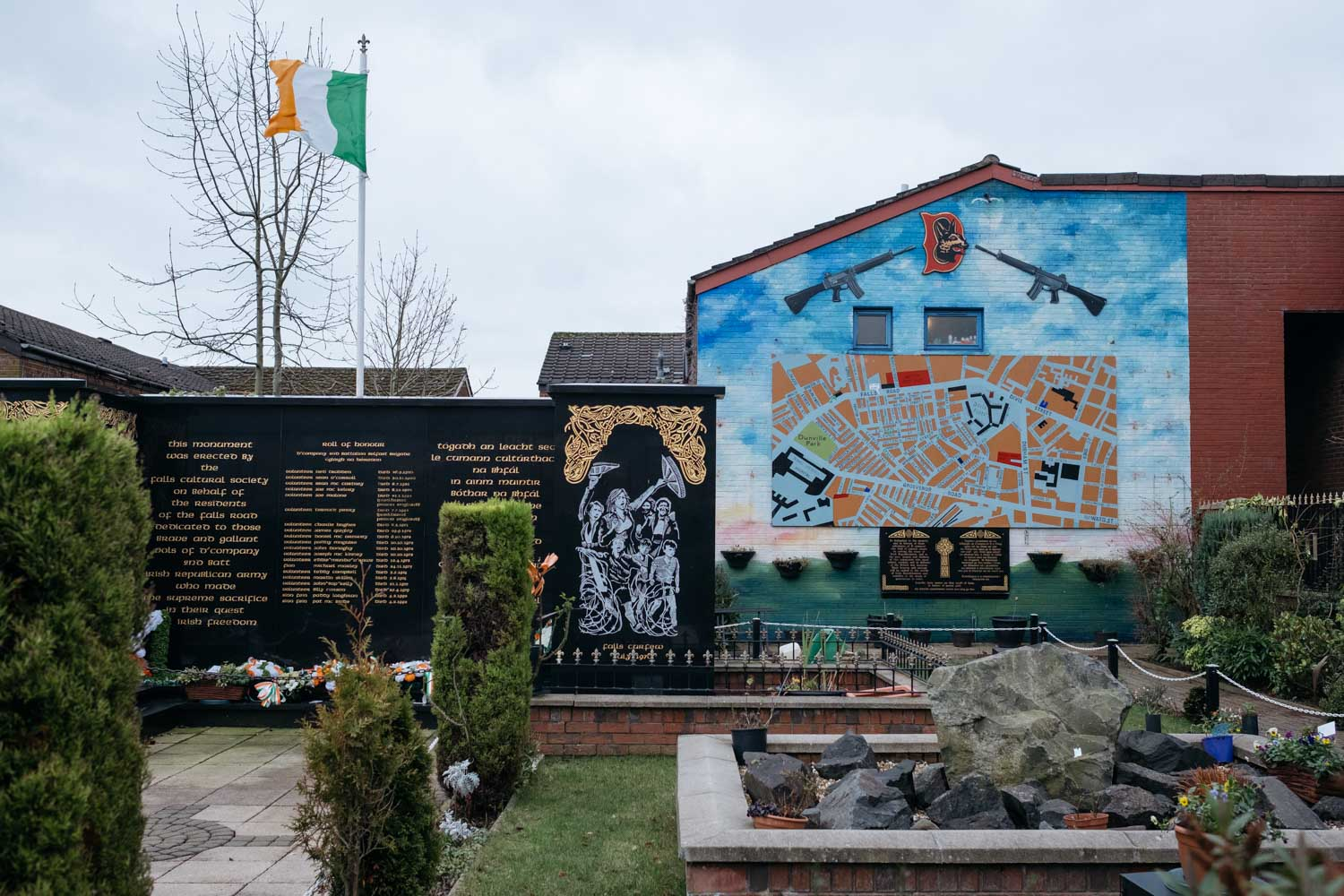 A memorial to dead Irish Republican Army volunteers along Falls Road.
