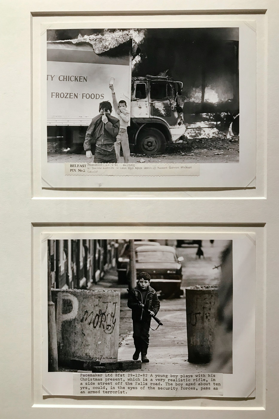 At the Ulster Museum, photographs from an exhibition about the Troubles.
