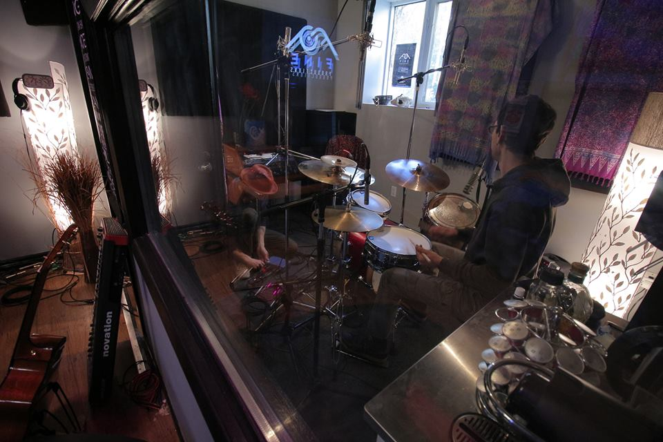 In session @ Fine Productions in Kensington Market, Toronto ON tracking drums for award winning producer Harrison Fine....