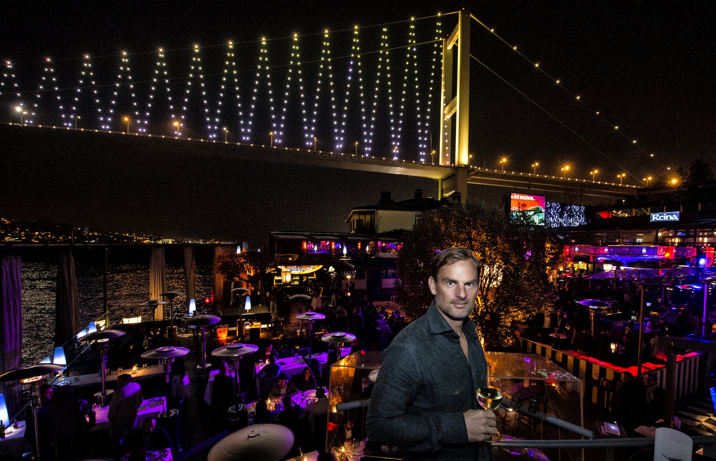 Dutch soccer player Ronald de Boer at the famous nightclub Reina in Istanbul for LXRY-magazine