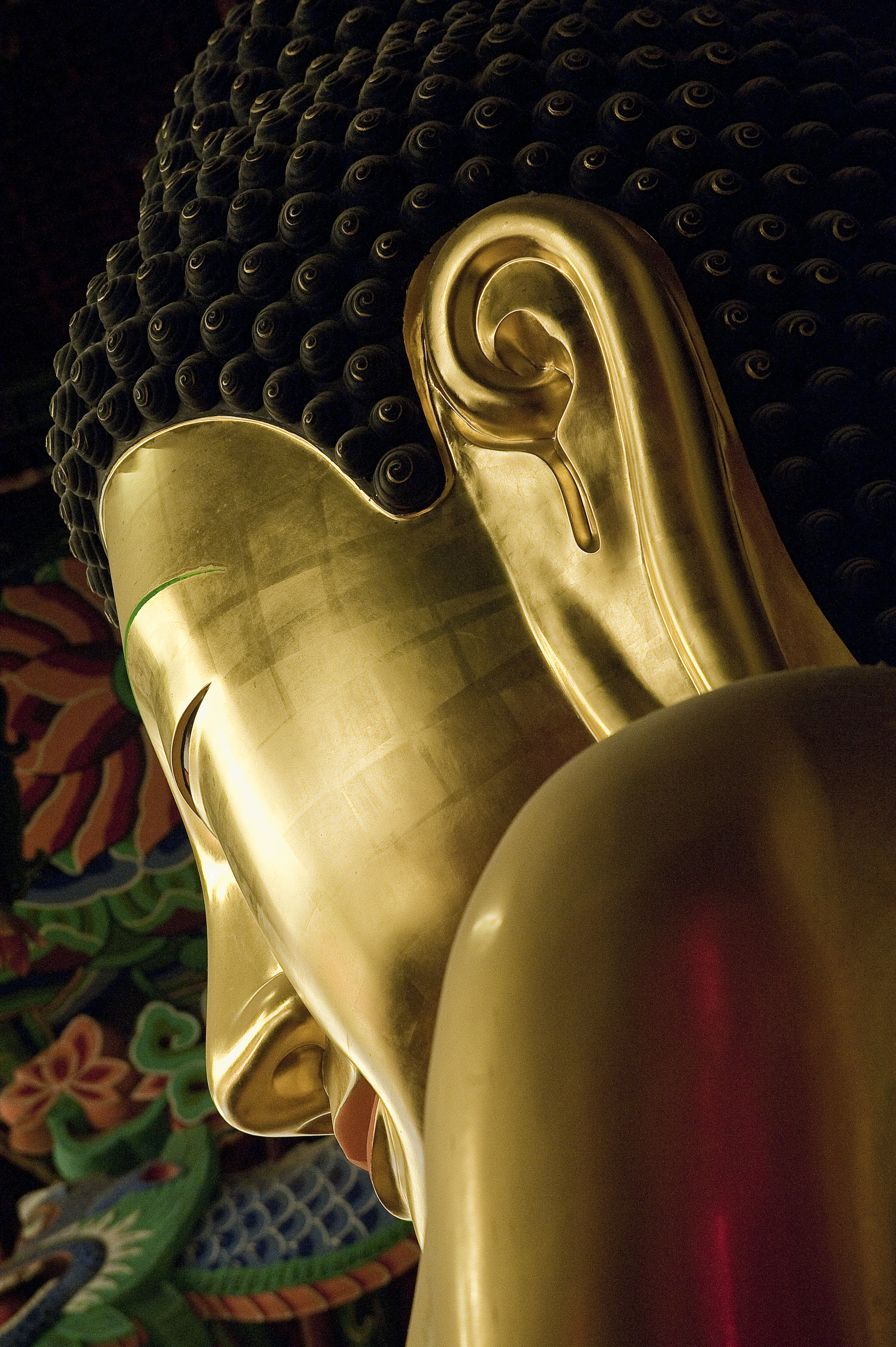 Golden Buddha Statue inside Jogyesa Temple in Seoul South Korea for National Geographic