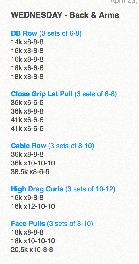 the last line of each exercise is the latest weight I've done