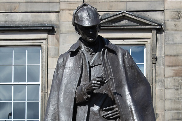 Photo  of Sherlock Holmes statue at Picardy Place in Edinburgh, the street of Conan Doyle's birthplace