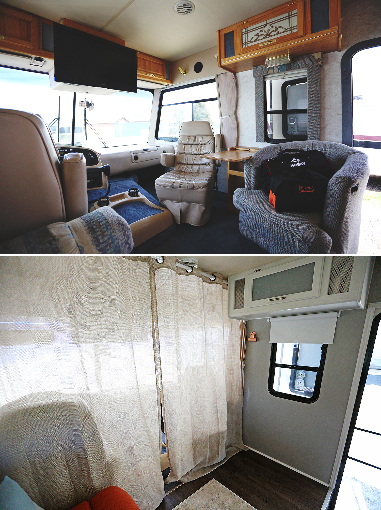 """We installed curtains separating the cockpit from the home which made a huge difference. In fact, right after hanging them I texted Mike and said, """"The curtains are a game changer!"""""""