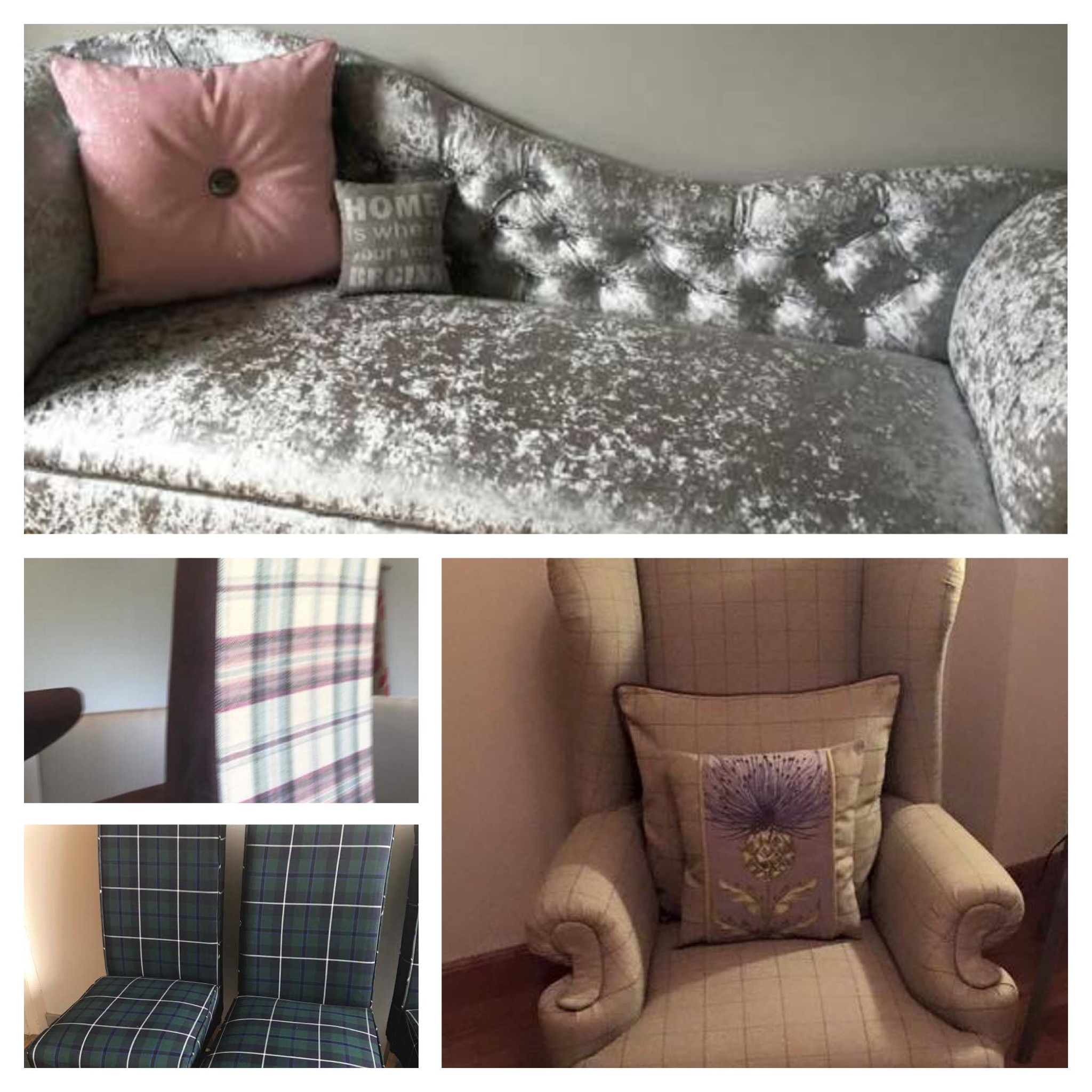 Velvets or Tartans a wide range of upholstery fabrics available just a final touch with the embroidered thistle and pink glitter cushions..  Cushions also available to order.