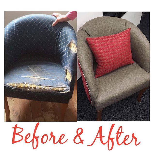 ❤️revamped, reused, repaired❤️. • • #upholstery #revamp #chair #newlife