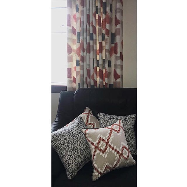HUARI🧡 this African, native central& South American infused fabric range from @villanovafabric gave a punch of colour to our clients living room🧡✨