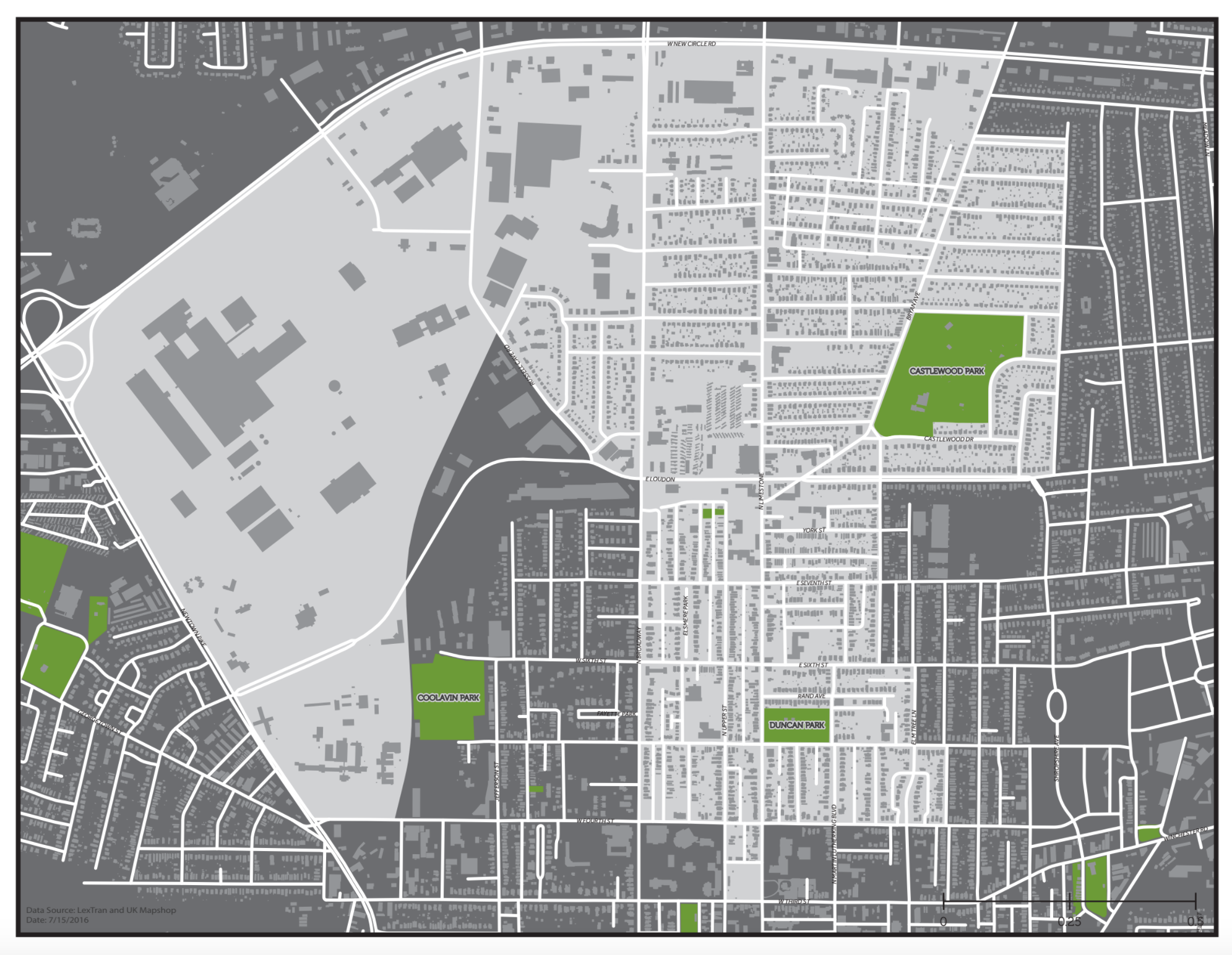 Lexington's North End - highlighted in light gray