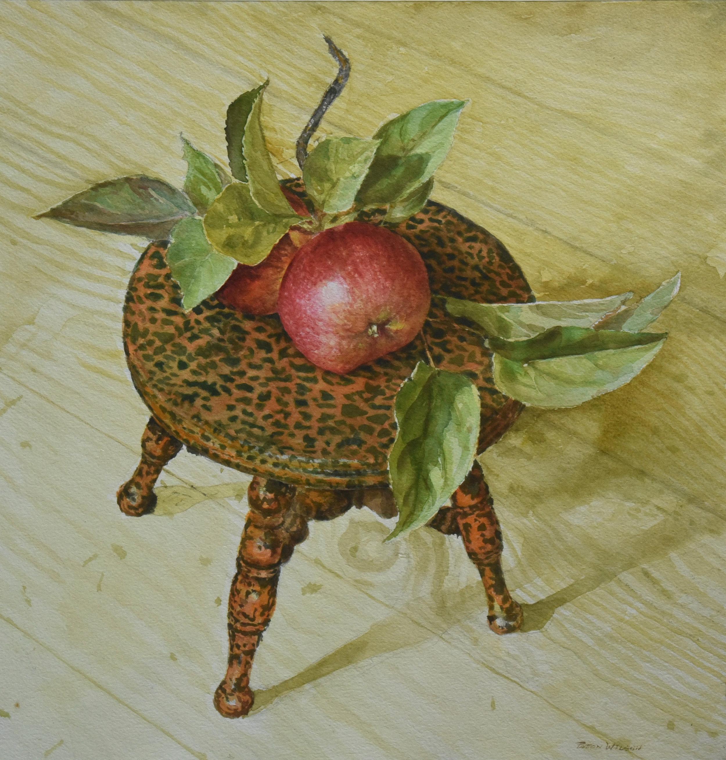 """LEOPARD APPLES"" Watercolor 18 x 17.5"
