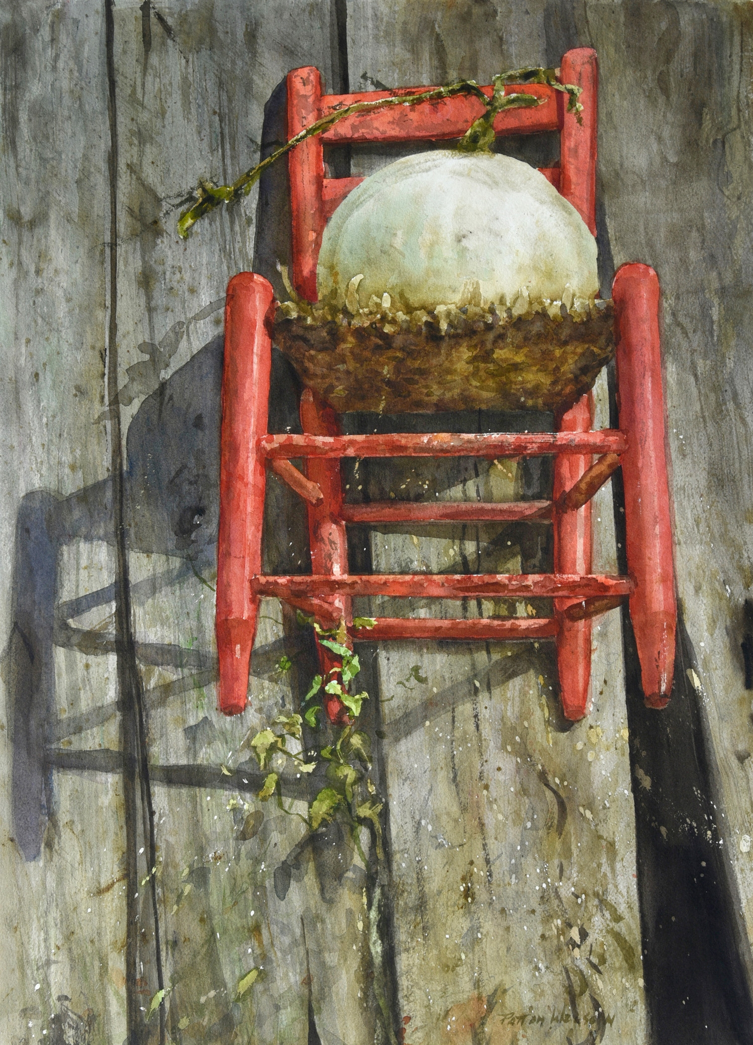 """RED CHAIR"" Watercolor 22.25 x 18"