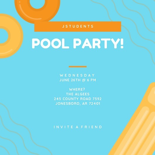 T O N I G H T .  What? A Pool Party 😎 .  Where? New Location 📍245 County Road 7592 Jonesboro, Arkansas 72401 .  When? 6 pm 🕕 .  Will there be food? ABSOLUTELY. Pizza and Snacks 🍕🍪🥤 .  See you there!!! ⛱