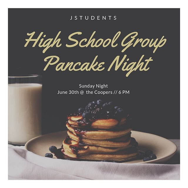 TOMORROW NIGHT // 6 PM Our combined high school group kicks off with a PANCAKE night at the Coopers!!! You won't want to miss it!! 🥞🥞🥞 Spread the word! 📍2908 Day Drive Jonesboro, AR 72404
