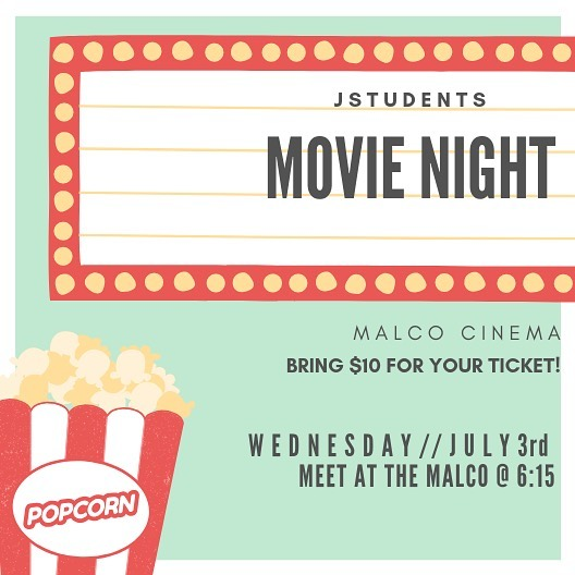 Get excited because tomorrow night is MOVIE NIGHT!!! 🎥  We are meeting at the Malco at 6:15!! 🍿  Bring $10 for your ticket + more if you want popcorn or snacks!! 🎬  We are seeing Toy Story 4!!! 👏🏼