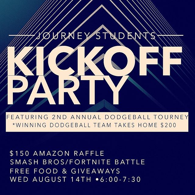 Just a few hours until the Journey Students Back to School Party! Featuring the 2nd Annual Dodgeball Tourney with $200 up for grabs. Free food + giveaways! All starts at 6PM!