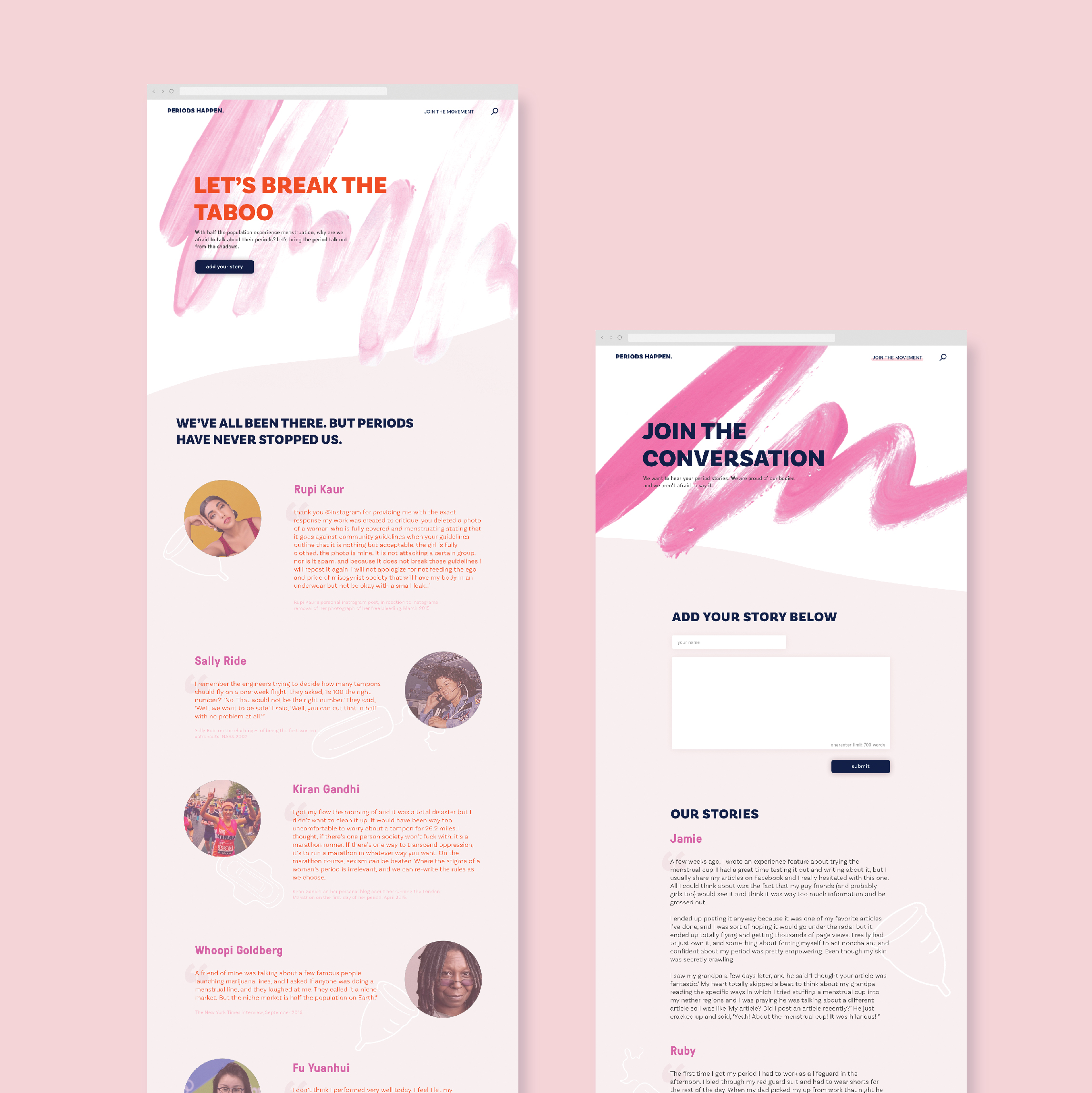 Extended Homepage and Join the Conversation Page Design