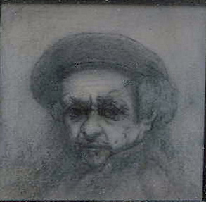 Pencil drawing by Paul Levy, Study of Rembrandt Self-Portrait, 1977