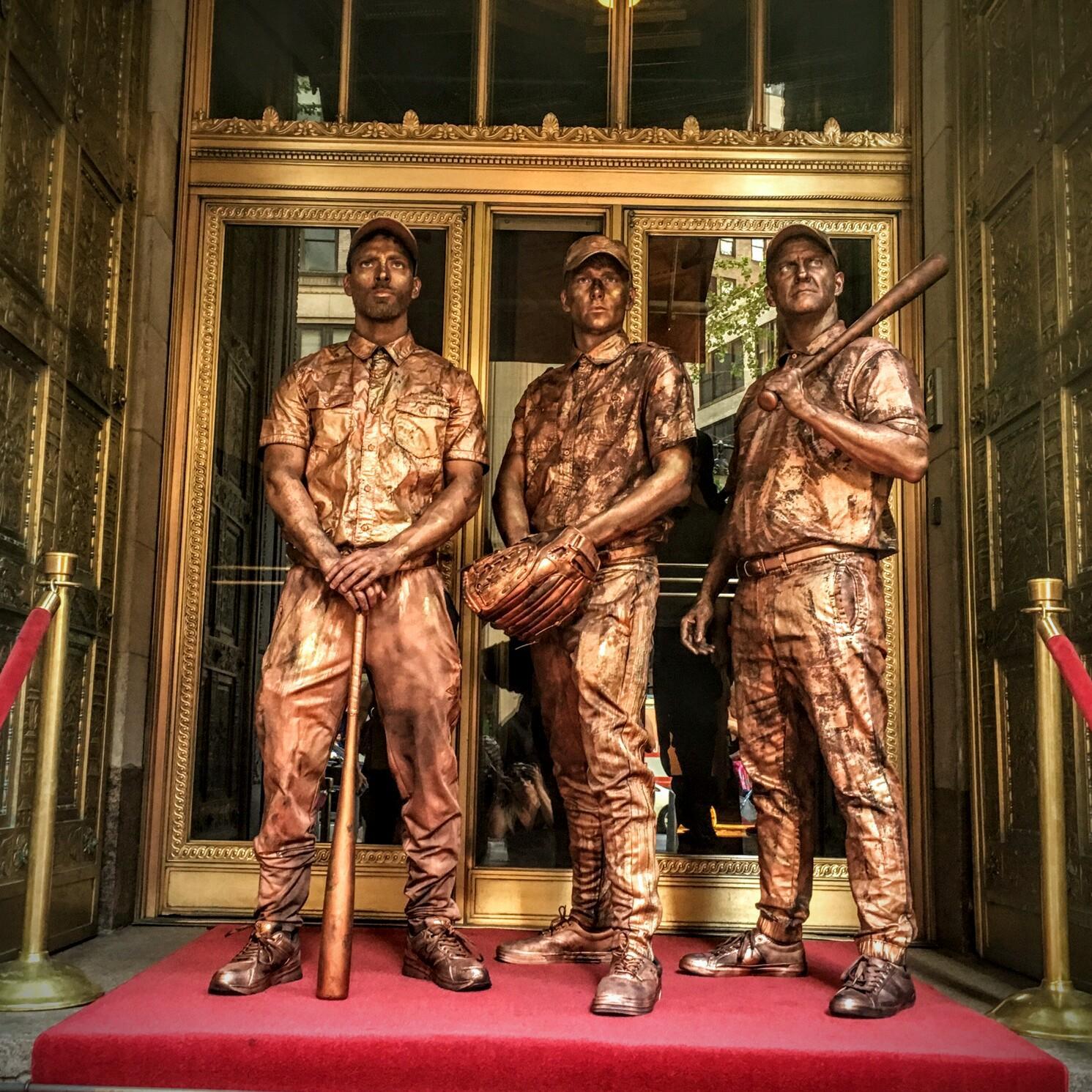 Bronze Vintage Baseball living Statues @Gotham Hall for Carlos Beltran Foundation.JPG
