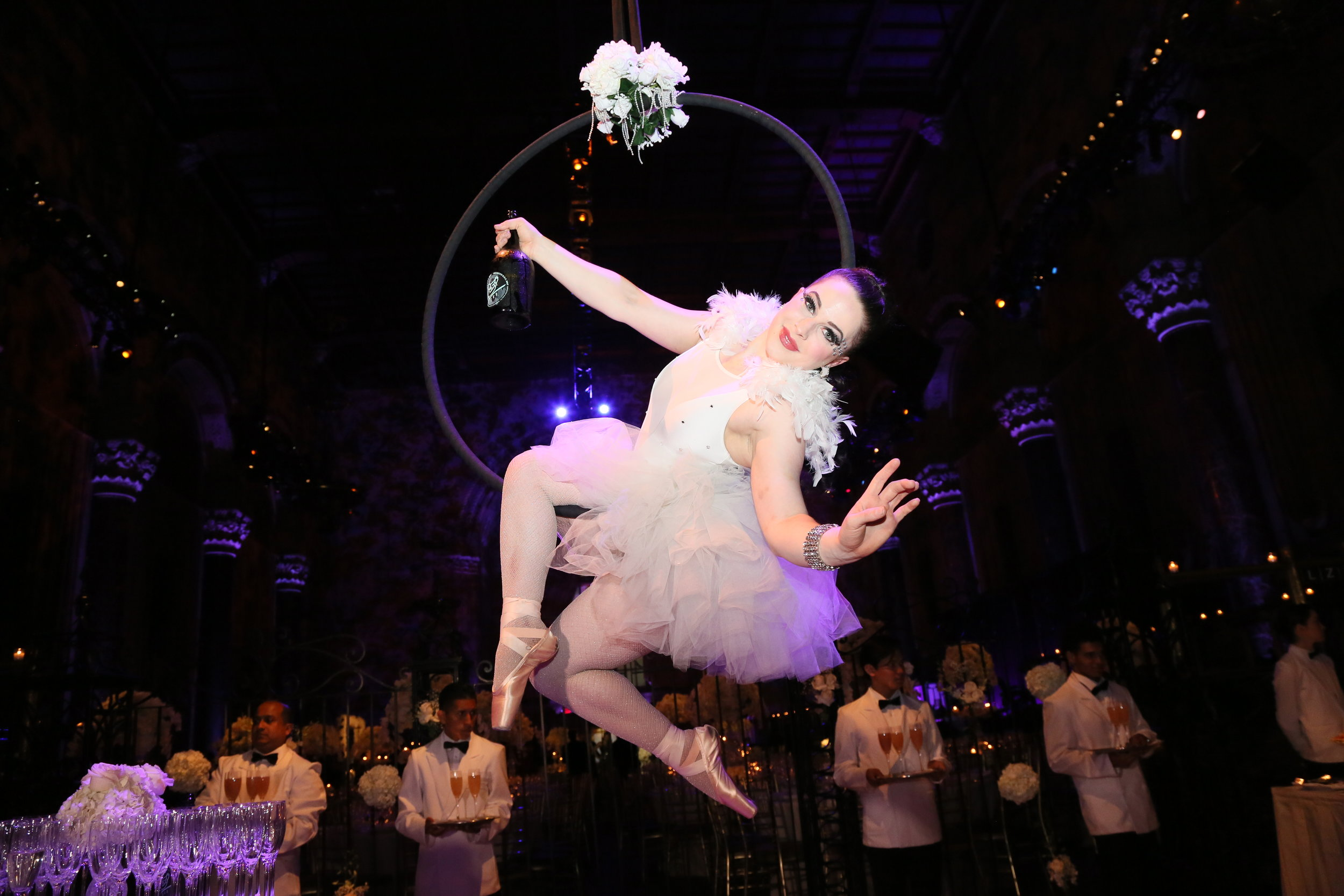 Cirque Central Winter Wonderland Aerial Champagne Service Ballerina for Wedding at Cipriani