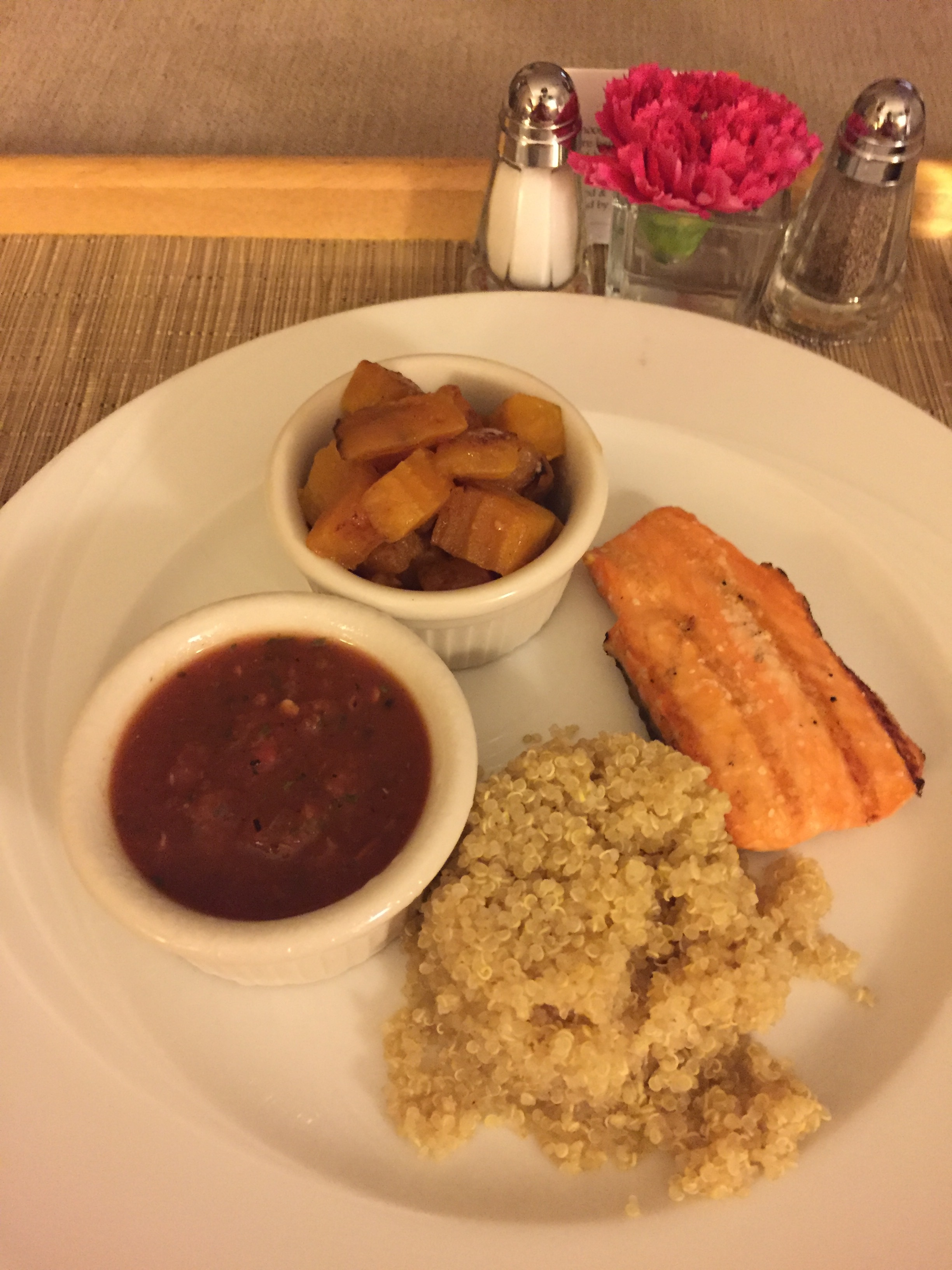 Room service- 4oz salmon with quinoa and golden beets