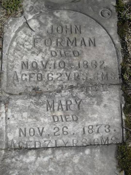 Tombstone for John and Mary Forman