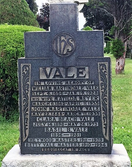 Tombstone for Basil B. Vale