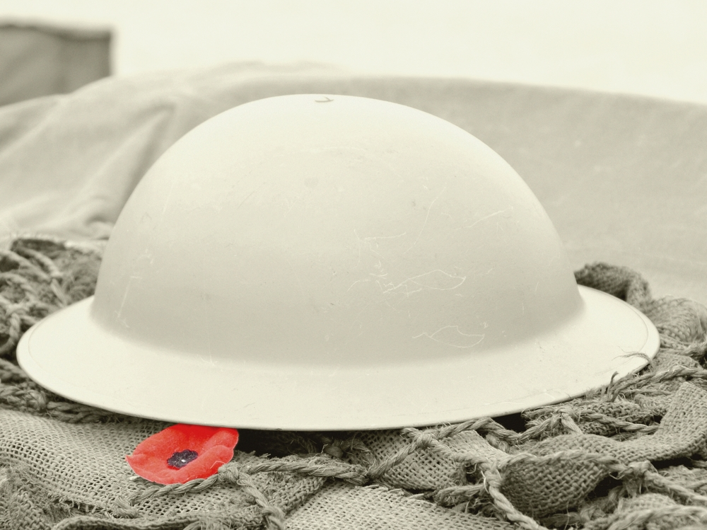WWI infantry helmet and poppy