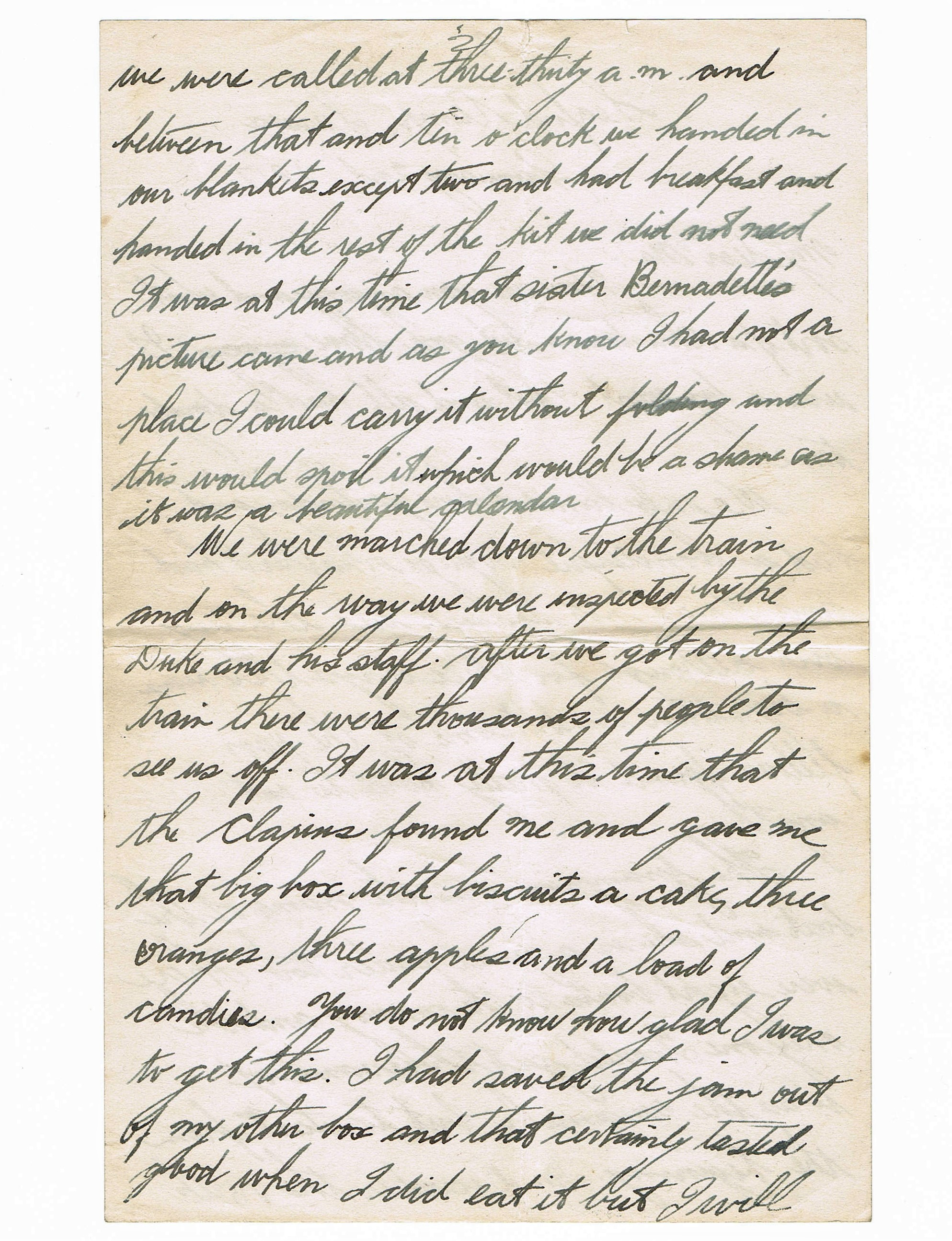 Second page of handwritten letter
