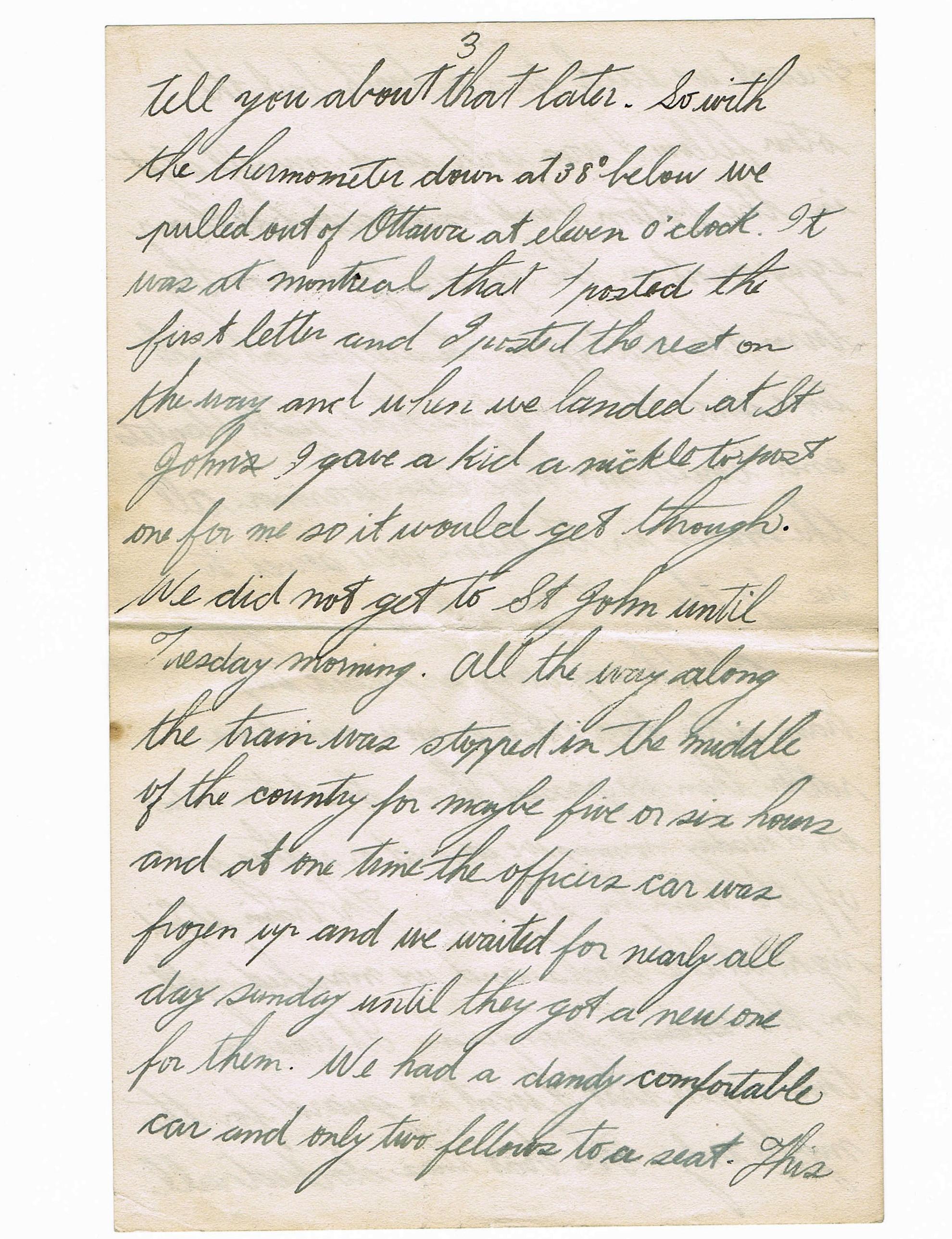 Third page of handwritten letter