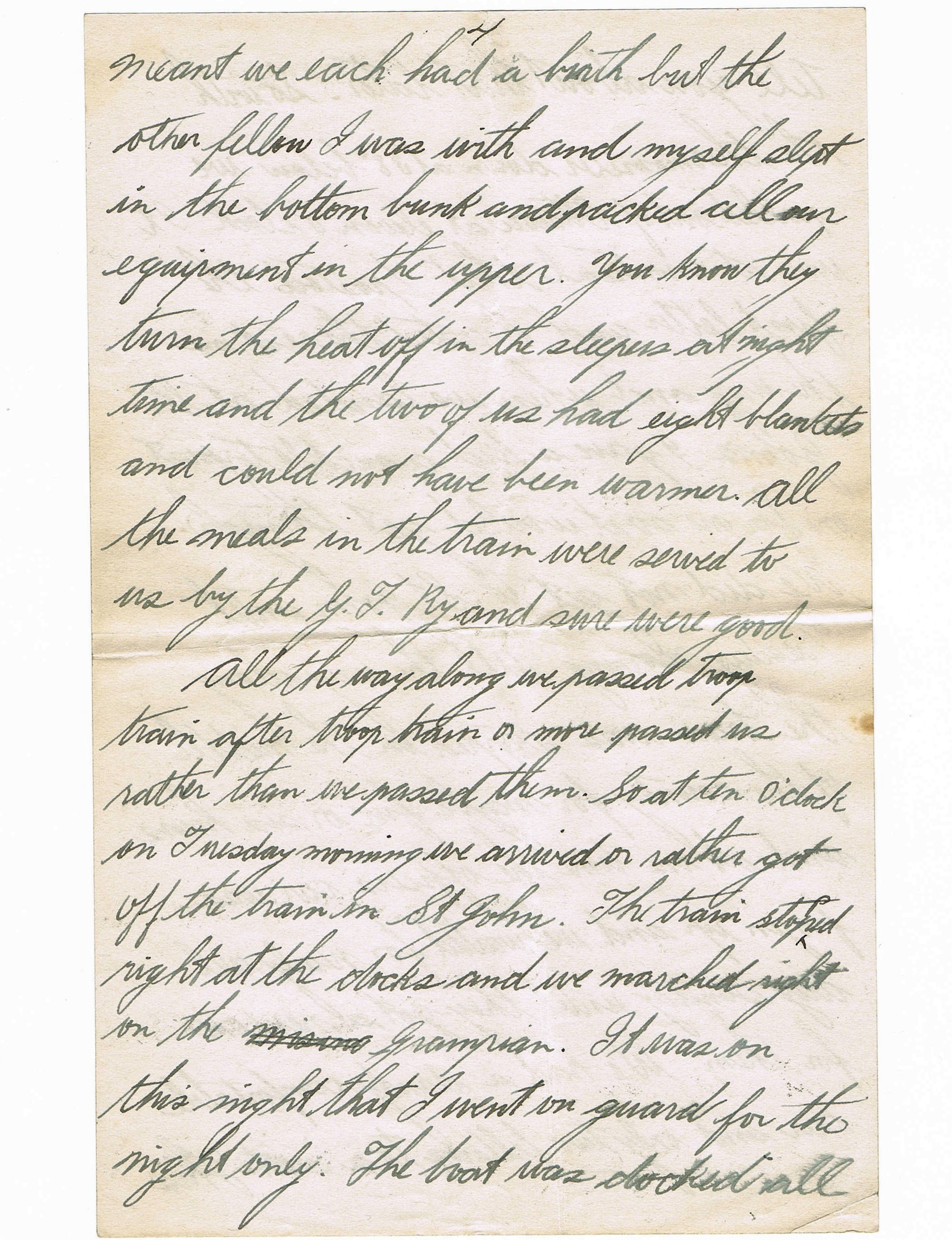 Fourth page of handwritten letter