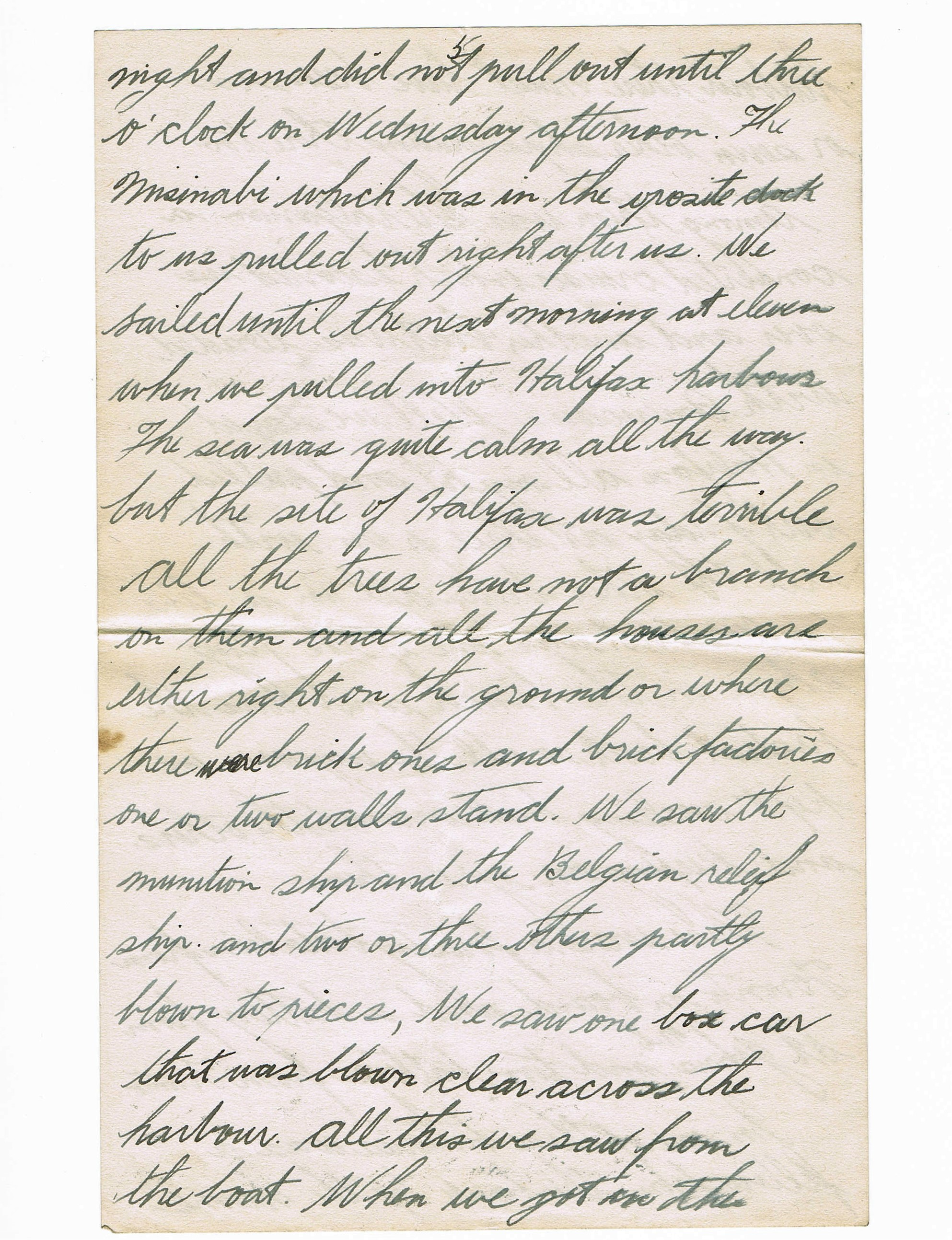 Fifth page of handwritten letter